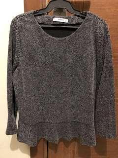 Authentic Mango Peplum 3/4 blouse