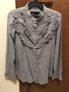 Authentic Marks And Spencer Grey with ruffles Polo
