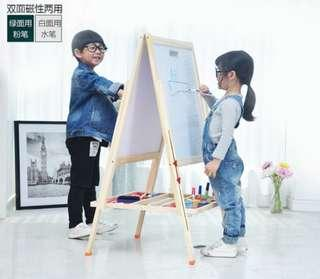 BN Adjustable Wooden Multi-Functional Kids Adults Double-Sided Both Sides Magnetic Art Easel Stand 2 in 1 White + Black Chalk Board (Type E)