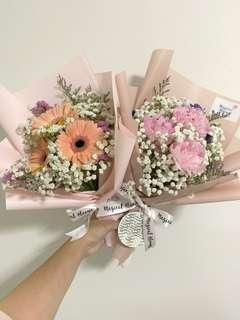 Peach Gerberas with Baby Breath / Pink Peony with Baby Breath / Birthday Bouquet / Fresh Flowers / Anniversary