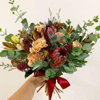 Rustic Bridal Bouquet with Burgundy And Dusty Pink Theme