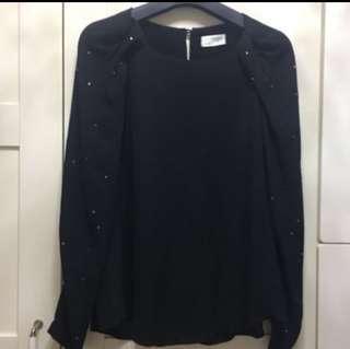 全新❗️韓國雪紡鑲鑽優雅長袖上衣