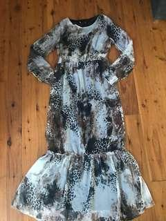 Women's hippy printed tiered maxi dress size 10