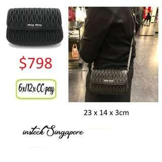 READY STOCK authentic new Miu Miu 5bh126 Matelasse nappa Leather Clutch   Shoulder Bag crossbody Black d0862cbe79e1e