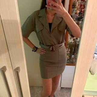 Vintage Army green relax dress with belt