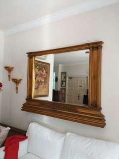 Authentic Handsome Gold Gilt Vintage Mirror ( Large )