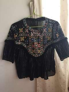 Bohemian Top/ embroidery top / Zara / black