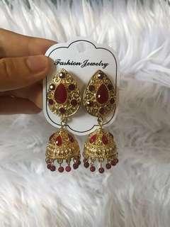 Red jhumka earring