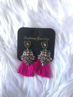 Purple diamond earring