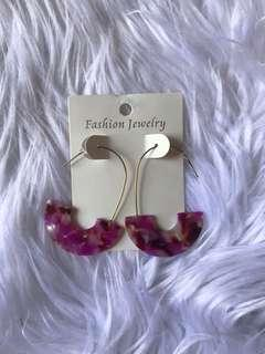 Pink turtle shell inspired earring
