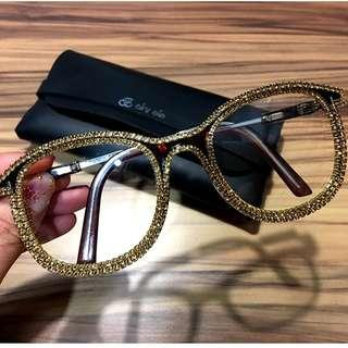 Gold Rhinestone Cat Eye Sunglasses