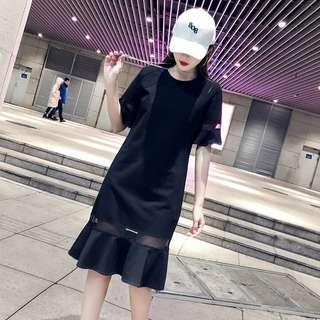 🚚 13衣衫小舗🎀S-3XL荷葉邊短袖連身裙女裝春夏A1130