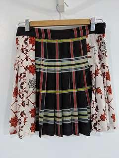 Zara mixed print pleated mini skirt
