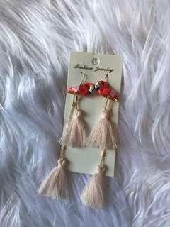 Flamingo tassel earring
