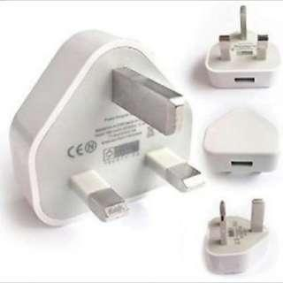 🆕White 3 Pin USB UK Charger Adapter Plug for SAMSUNG IPHONE iPAD