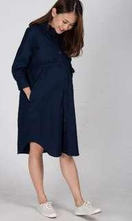 🚚 Boyfriend Nursing Shirtdress in Navy