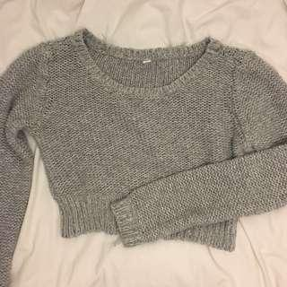 CROPPED GREY KNIT SWEATER