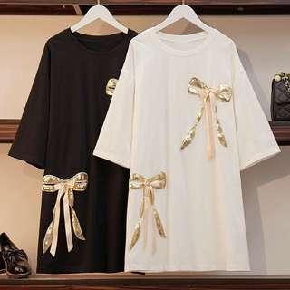 🚚 13衣衫小舗🎀L-5XL大碼女生兩片蝴蝶結連身裙A1128
