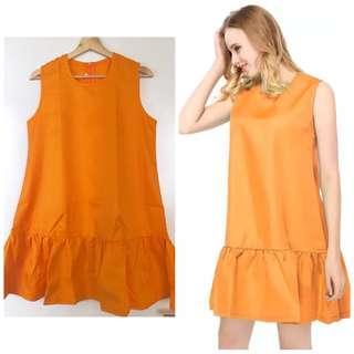 Brand new orange sleeveless flare tent dress