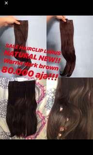 Hair Clip natural , hairclip dark brown , hair clip lurus natural