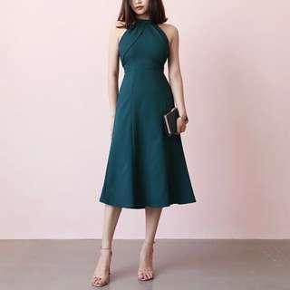 BNIP Halter neck dark green dress