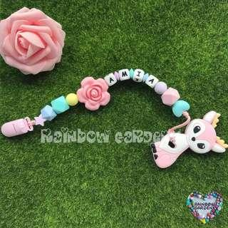 Handmade Pacifier Clip with customised name silicone letter beads + Pink deer Teether