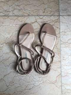 Preloved sandal wanita original zara trf beaded branded size 38