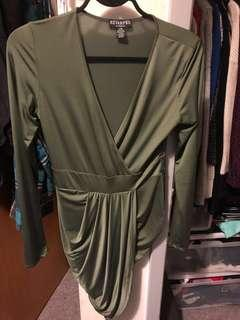 Olive Green Party Wrap Dress | size L-XL
