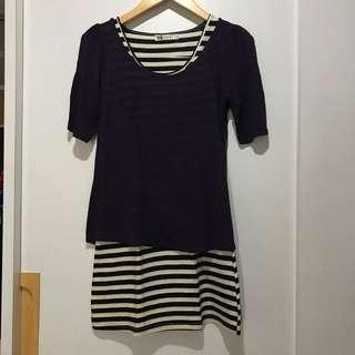 Stripe Dress with Purple Outer