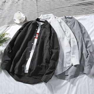 Mandarin Collar Stripes Shirt [M - XXXL]