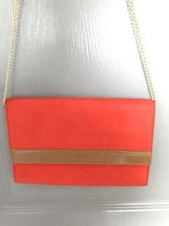 🚚 NEW: H&M Clutch Bag with Chain Link Strap (ORANGE & CAMEL)