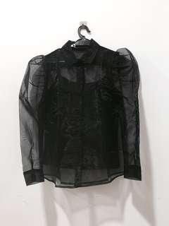 KLEEAISONS ORGANZA PUFFY SLEEVES TOP