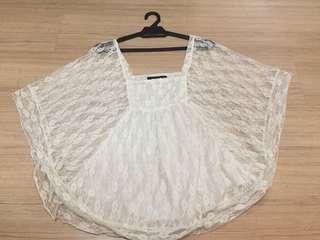 ANIMALE Batwing Flowy Lacey Top
