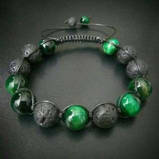 🚚 Special sales 10mm Green Tiger Eye Lava Shamballa Bracelet, Power Stone Macrame Adjustable Bracelet, Unisex Bracelet Men's Gift Bracelet