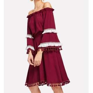 SHEIN 露肩連身裙 酒紅色