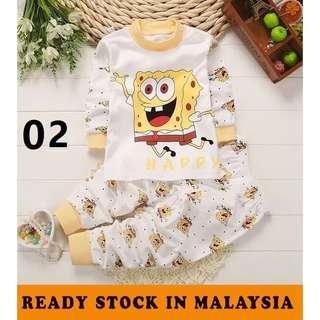 【READY STOCK】new born baby kids unisex long sleeve pyjamas