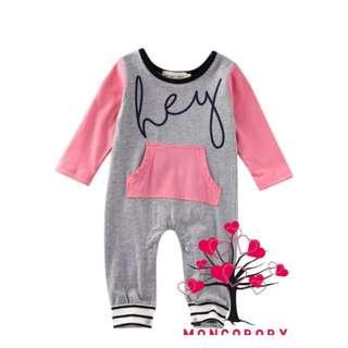 Newborn Toddler Baby Girl / Boy Colourblock HEY Pocket Print Romper Jumpsuit Bodysuit Cotton Clothes Outfit