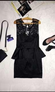 Black peplum casual dress