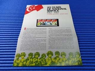 1987 Singapore Presentation  Pack 20 Years of National Service 1967 - 1987 Commemorative Stamp Issue MNH