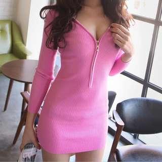 🚚 韓版性感V領修身顯瘦洋裝