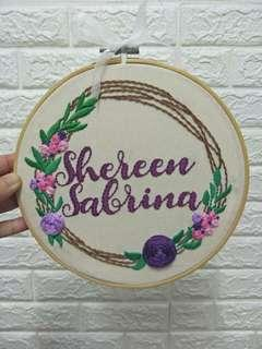 Hand embroidery hoop wall art personalization gift