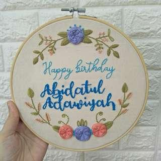 Custom Birthday gift personal name hand embroidery art