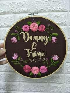 Couple or wedding gift with anniversary date custom name embroidery art