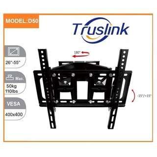 D50 180° Swivel -15~15°Tilt TV Wall Mount Bracket Holder Stand MAX Load 50KG For 26-55 Inch LED LCD Monitor 3D Flat Panel TV Mount VESA U.P. to 400X400 Adjustable