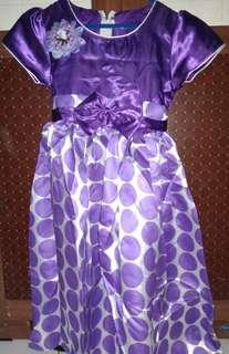 Dress anak polkadot ungu