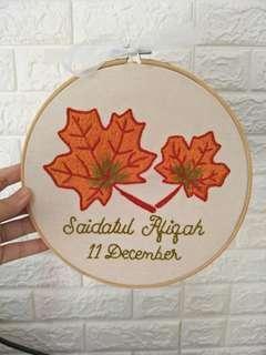 Custom personalization Birthday gift art frame autum fall leaf colours