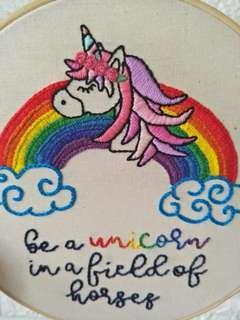 Nursery decor custom personalize name quotes unicorn colourful art frame