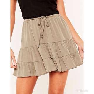 Khaki Floaty Hem Skirt (size 12)