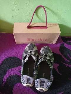 Sepatu slip on casual hitam sepatu rajut sepatu import sky blue skye #SHERO