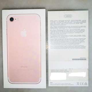 Iphone 7 Rose Gold 128GB Empty Box